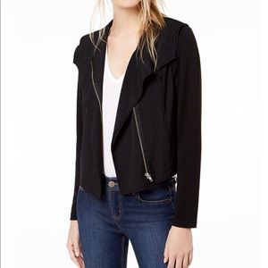 Bar III Knit Moto Black Zip Up Jacket